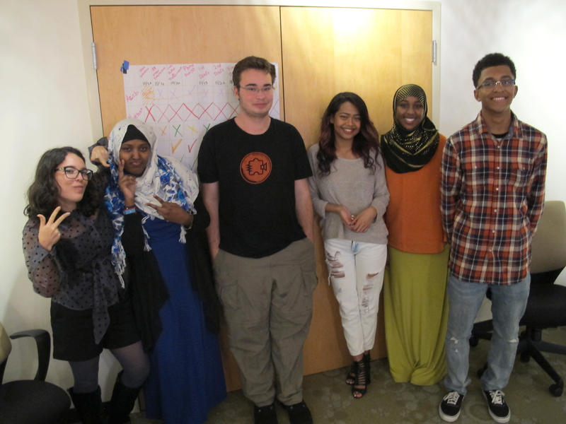 "The graduates of ""RadioActive's"" Fall 2014 Introductory Workshop: Noel Gasca, Azeb Tuji, Nathan Boss, Sokinna Keo, Amran Aden and Jaylen Wheeler."