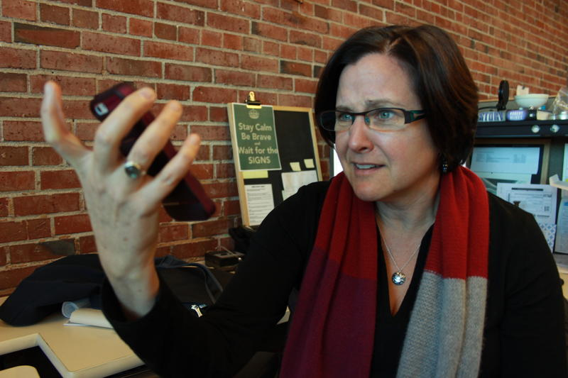 A frequent sight in our newsroom: Business reporter Carolyn Adolph arguing with Siri, the iPhone personal assistant.
