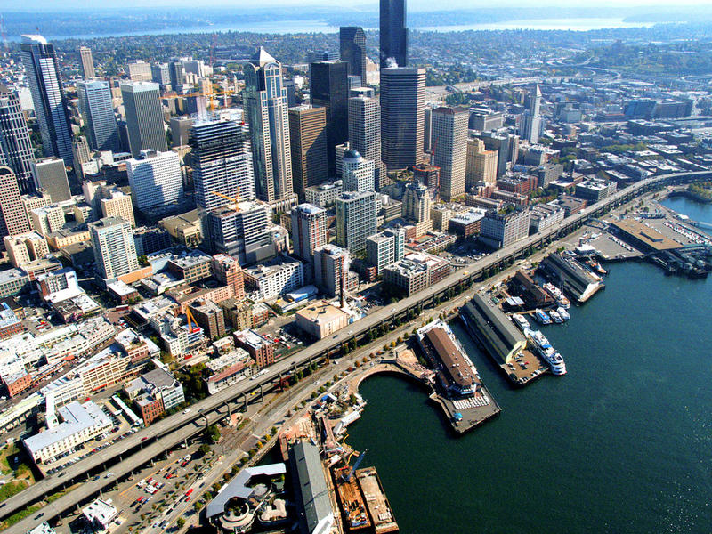 Alaskan Way viaduct, Seattle waterfront, downtown