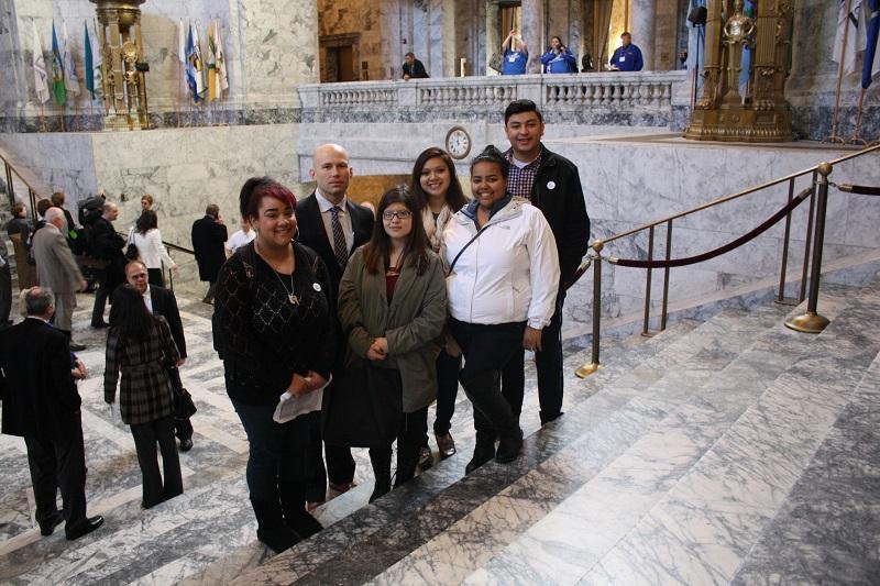 Social Studies teacher James Boutin with SeaTac seniors at the Washington State Legislature