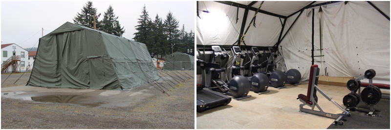 A gym tent has been set up in the middle of the Ebola controlled monitoring area at JBLM.