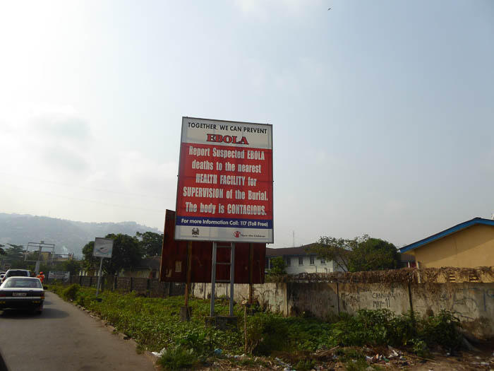 A sign in Sierra Leone reads: