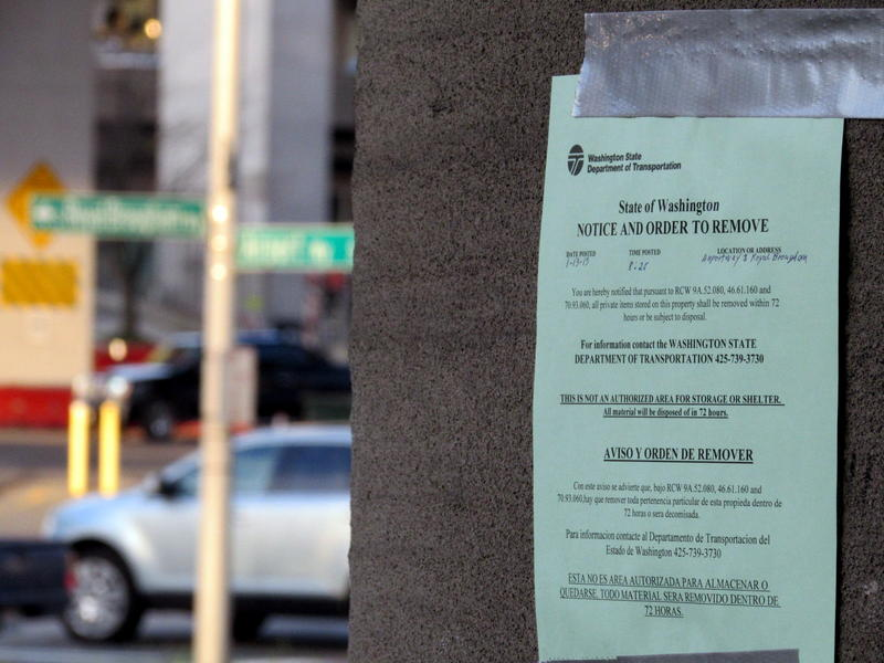 A Seattle homeless camp's eviction notice, taken in January 2015.