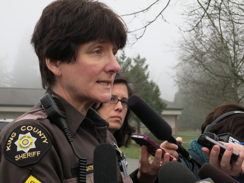Sergeant DB Gates of the King County Sheriff's office addresses media outside Meridian Elementary School after a lockdown of Shoreline schools on Wednesday, Jan. 7.