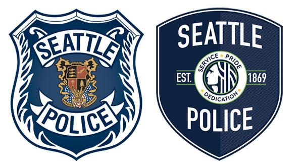 The Seattle Police Department has updated their logo. The previous version is on the left.