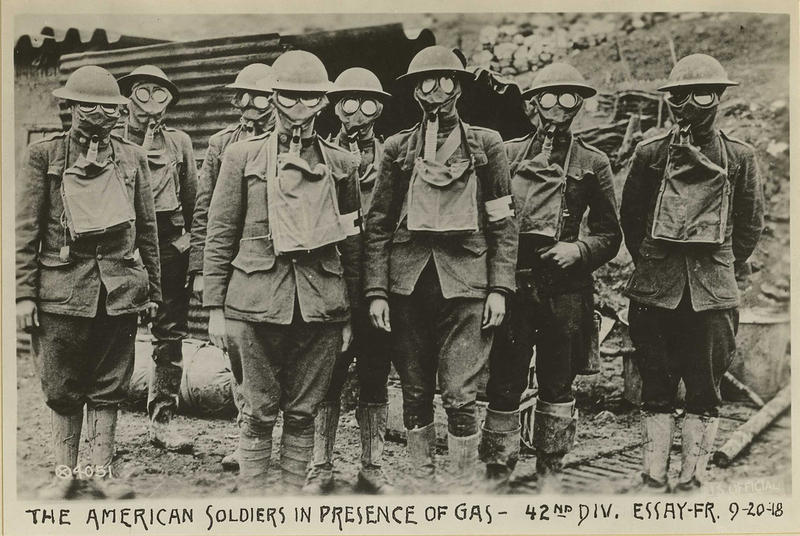 American soldiers in presence of gas, 42nd division. Essey, France. September 20, 1918.