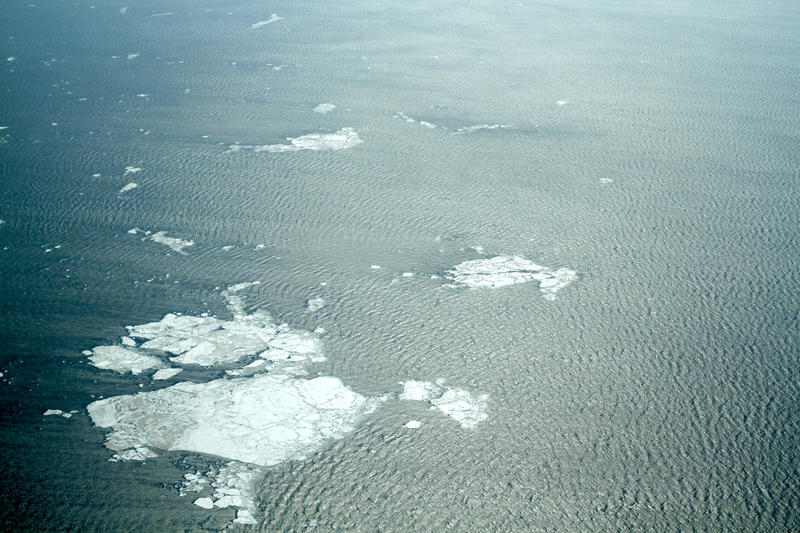 A view of the sea near Kivalina, Alaska, in May 2014. Normally the ice would have been solid into June.
