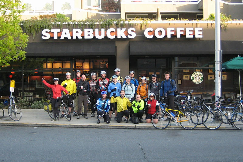 This group of REI employees met at a Starbucks for bike-to-work day. Is there anything more Northwest than that?