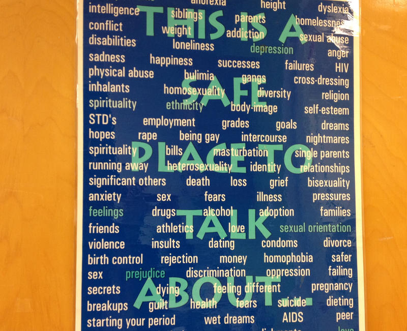 A poster at Rainier Beach High School's teen clinic lets students know they have a safe place to talk.