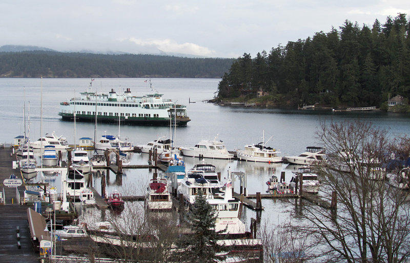 The ferry pulls in to Friday Harbor, the only incorporated city in San Juan County, Wash. Veterans will often travel the hour-long ferry ride to reach VA services here.