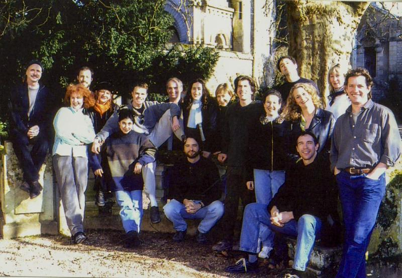 Members of the Ardeo Theatre Project outside their chateau near Poitiers, France. 2001
