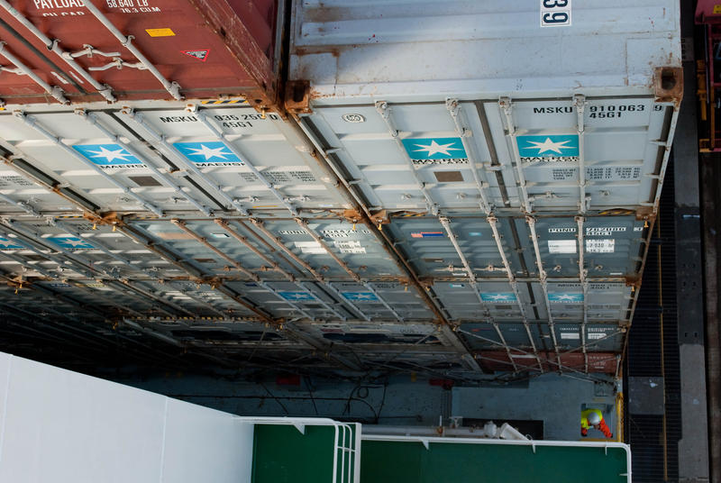 Containers stacked high at the Port of Seattle.