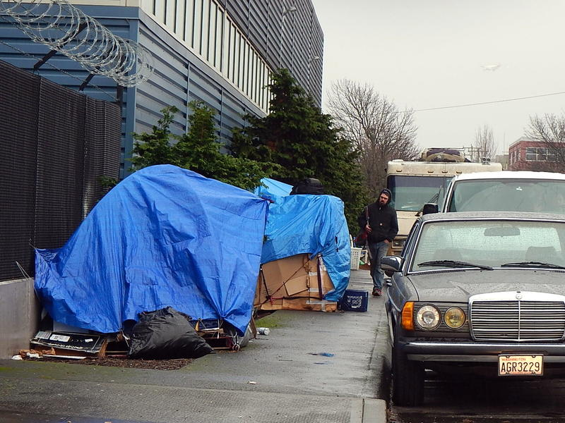Homeless encampment along a road in the Sodo area of Seattle.
