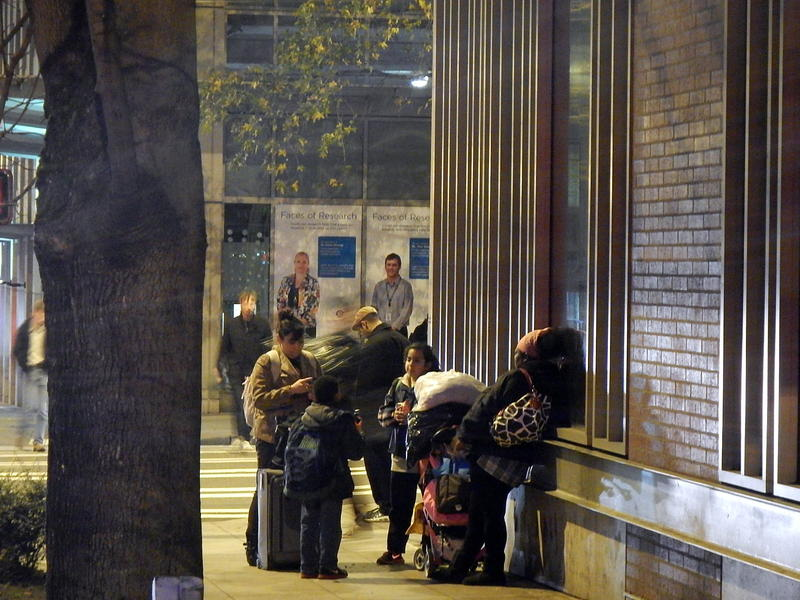 Homeless families outside Mary's Place shelter in Seattle