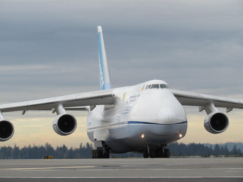 A Ukrainian Antonov 124 cargo jet, built in 1987, taxis after landing at Sea-Tac.
