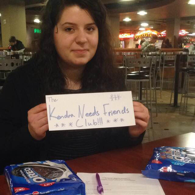 Kendra Hanna recruiting members for the Kendra Needs Friends Club at the University of Washington