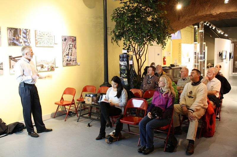 Matt Preedy talks about Bertha before a crowd of armchair engineers during a recent Art Walk in Pioneer Square.