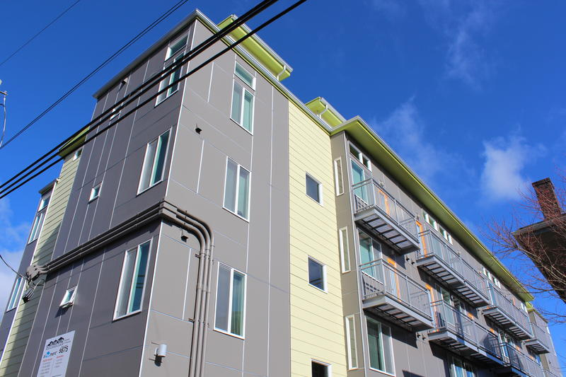 The micro-housing complex where Suzanne Jacobs lives. She pays $800 a month for a tiny bedroom.