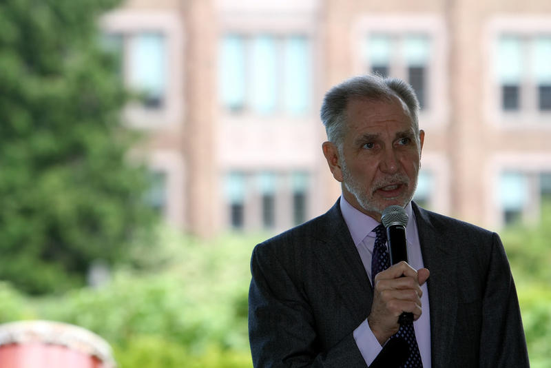 Michael Young speaks at a cherry tree gift reception at the University of Washington on May 20, 2014.