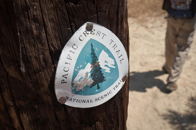 Hike, outdoor, A trail marker designating the Pacific Crest Trail.