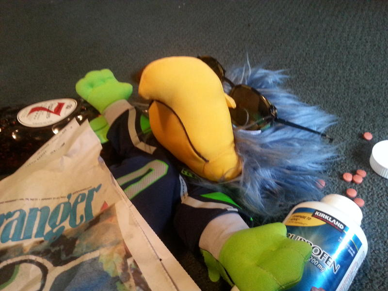 A listener emailed us this picture of a recovering Blitz on Monday after the Seahawks lost in Super Bowl XLIX.