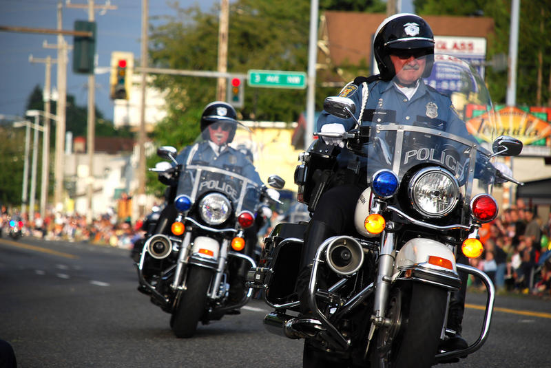 File photo of Seattle Police at Greenwood Parade in 2008.