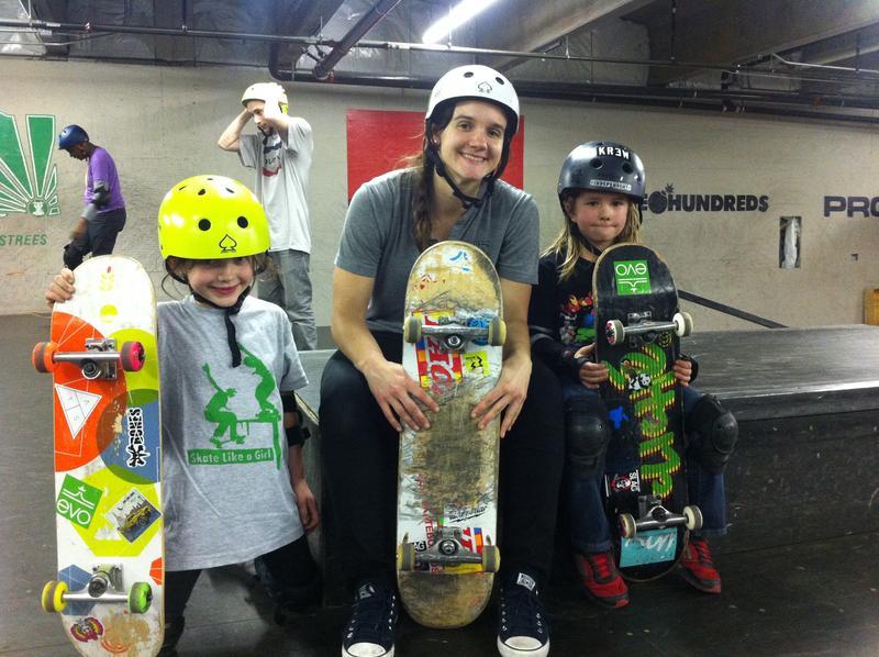 Emma, 7, Skate Like A Girl's Seattle program director Kristin Ebeling, 25, and Maya, 6.