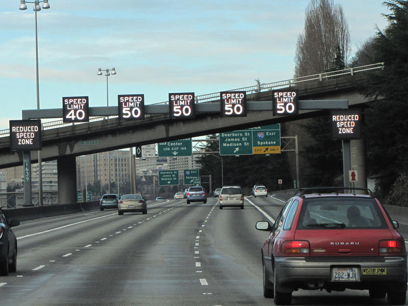 traffic, transporation Variable speed signs on northbound Interstate 5 into Seattle.