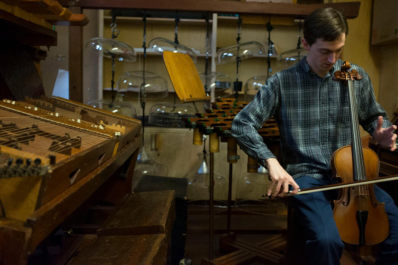 Charles Corey is the guardian of Harry Partch's eclectic instrument collection, housed in a small room at the University of Washington. Corey is playing the adapted viola.