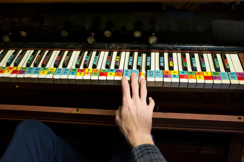Charles Corey of the University of Washington plays the chromelodeon, one of 57 instruments that composer Harry Partch created for his music.