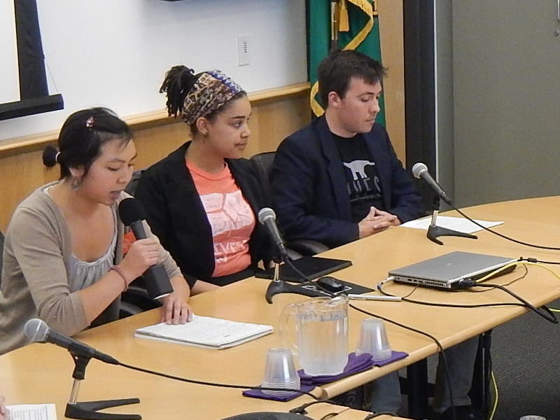 Student activists Angela Feng, Sarra Tekola and Alex Lenferna of Divest UW appear before the UW Board of Regents on March 12, 2015 to urge the university to get rid of its coal investments.