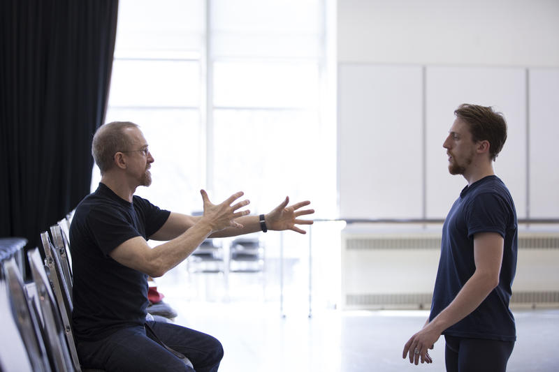 Choreographer William Forsythe, left, with Pacific Northwest Ballet corps de ballet member Ezra Thomson