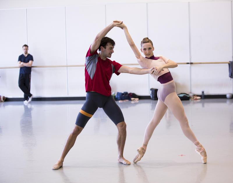 "PNB Principal Dancer Jerome Tisserand and Soloist Elizabeth Murphy in rehearsal for ""Vertiginous Thrill of Forsythe"""