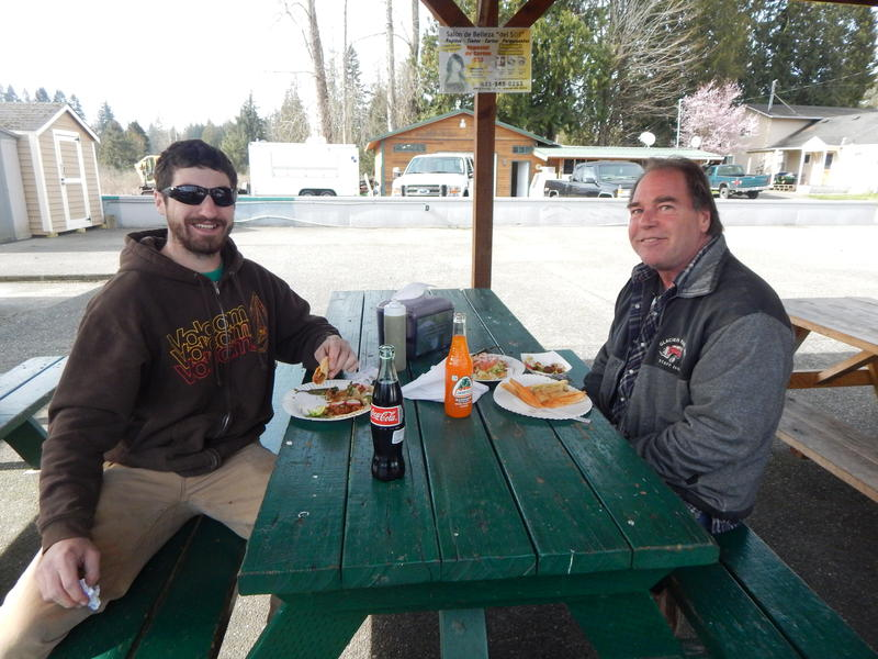 Josh Etzler, left, and colleague Jeff Stewart break for lunch in Tulalip. Etzler says marijuana retail stores could be undercut by tribes.