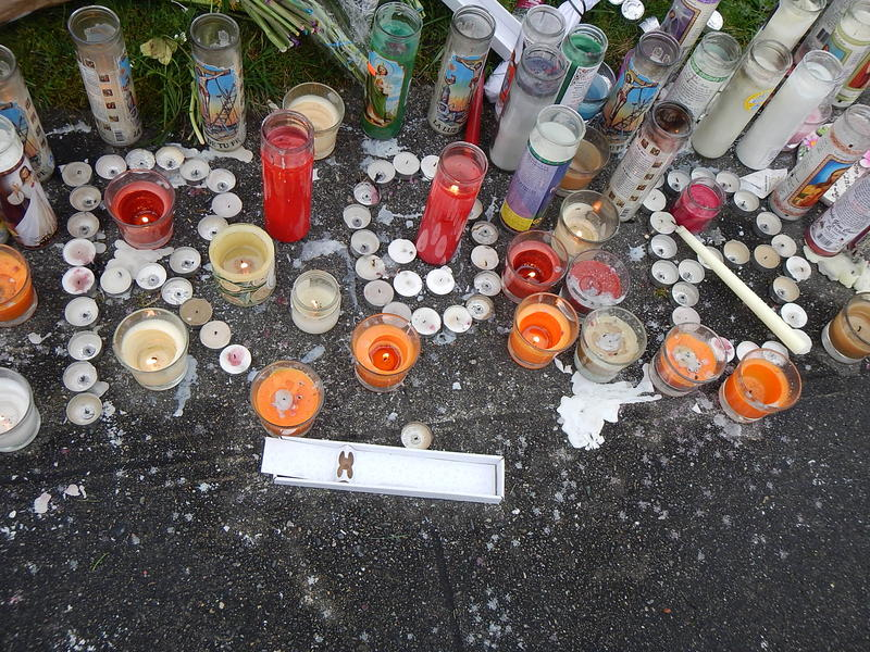 Part of a memorial for Robert Robinson, Jr., 17, of Seattle.
