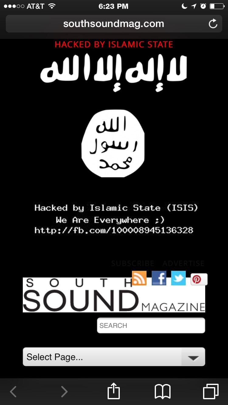A screen capture shows the South Sound Magazine website after a hacking attack by a group claiming to be ISIS.