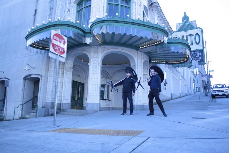Jake Westhoff (right) and a colleague at the Rialto Theater