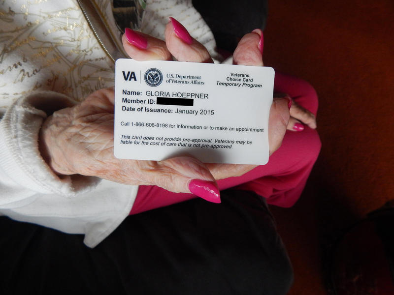 Gloria Hoeppner holds her VA choice card with her husband Earl Kornbrekke at their home in Friday Harbor, Washington.