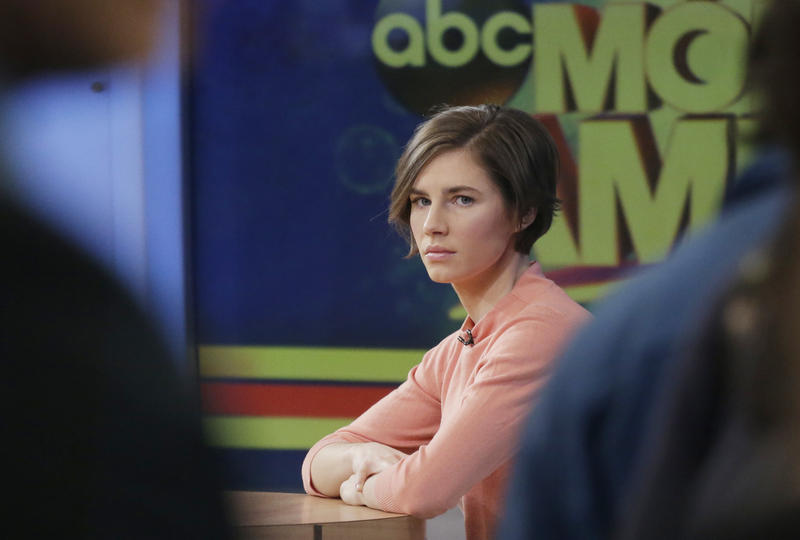 Amanda Knox waits on a television set for an interview, Friday, Jan. 31, 2014 in New York.