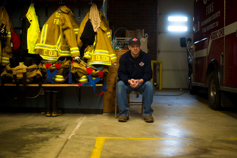 Chief Willy Harper inside the Oso fire house. It has reverted to a quiet volunteer fire department in the months since the slide.