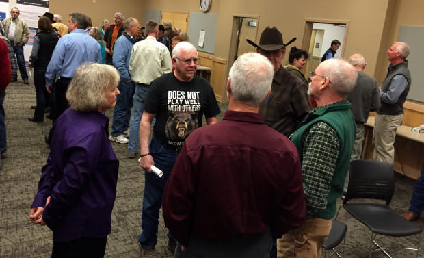 About 80 people came to Okanogan, Washingotn, to voice their opinions on reintroducing grizzly bears to the North Cascades.