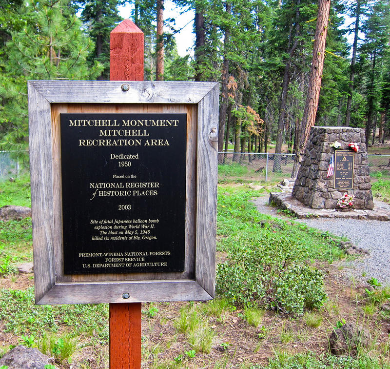 The Mitchell Monument in Fremont-Winema National Forests near Bly, Oregon, commemorates the six victims of a balloon bomb in 1945 - the only casulties on the US mainland from enemy action during WWII.
