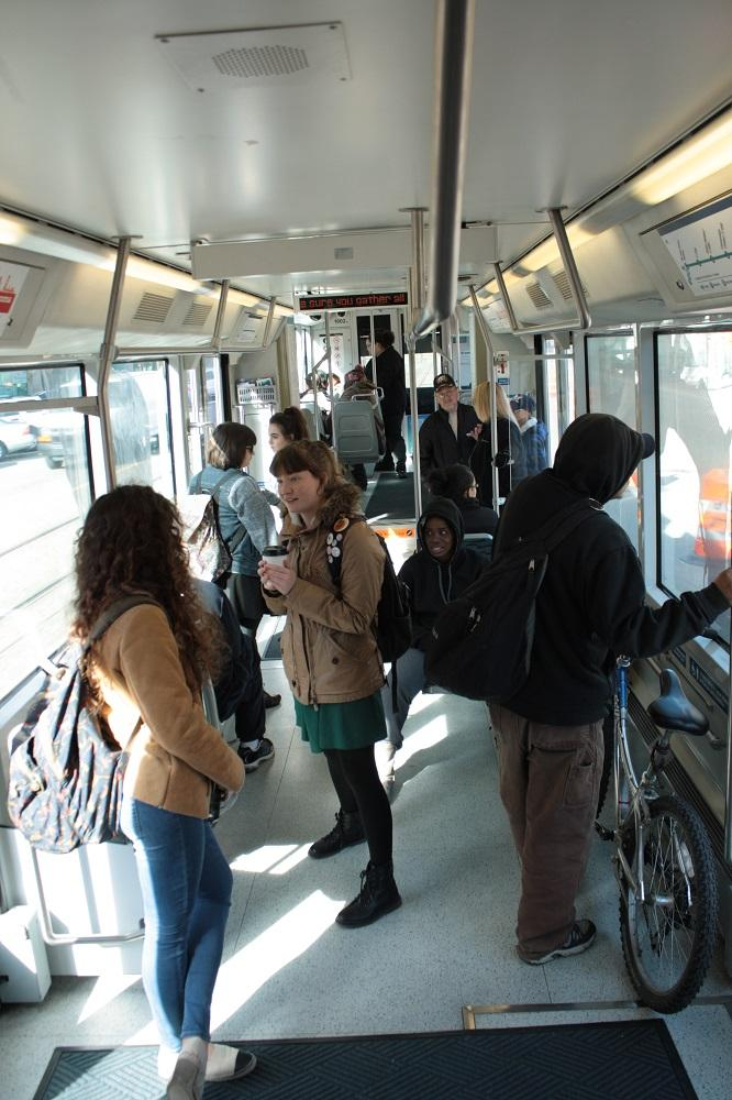 Students on Tacoma's Link Light Rail train.