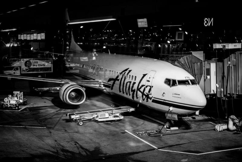 Alaska plane at Sea-Tac Airport.