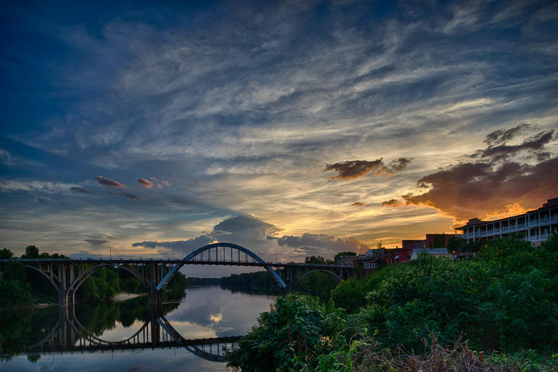 Sunset over the Alabama River and the Edmund Pettus Bridge in Selma.