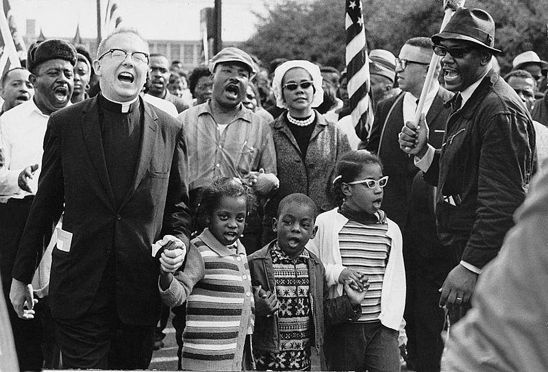 The Selma to Montgomery March in 1965. Martin Luther King, Jr. is at center.