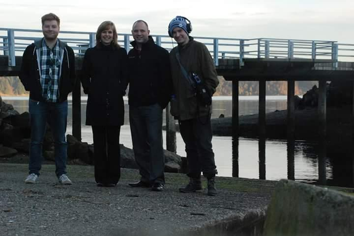 "The producers and cast of the Rethinking Punishment Radio Project's premier episode, ""Superpredators Revisited"": Sam Fenn, Katherine Beckett, Jeff Coats and Gordon Katic."