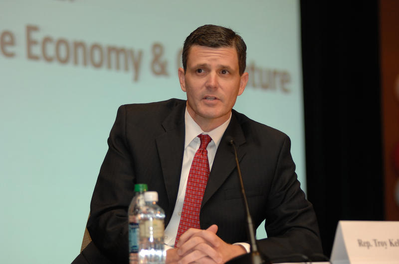 In this 2012 file photo, Troy Kelley, the Democratic candidate for state auditor at the time, takes questions at a debate.