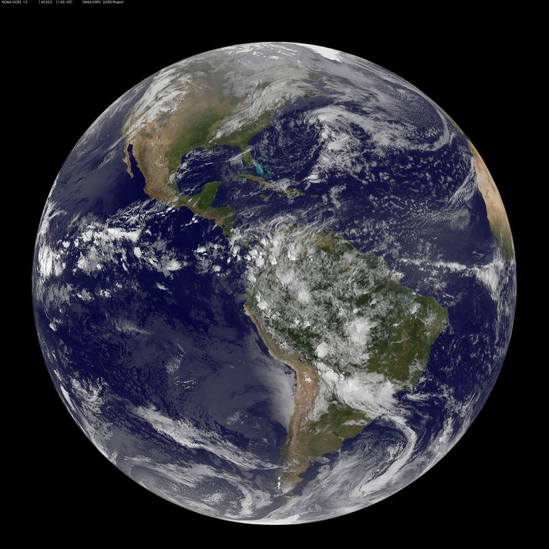 The Americas are seen from space on Earth Day 2014 in a photo captured by NOAA's GOES-East satellite.