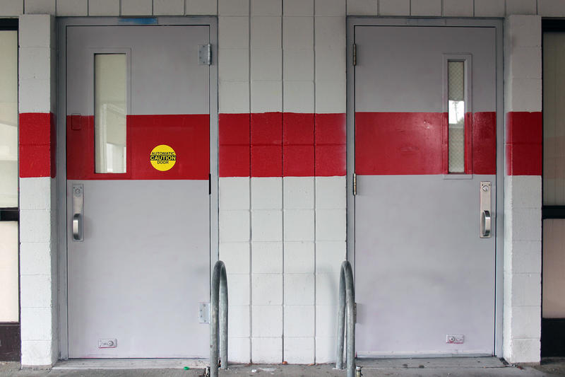 The doors to the cafeteria at Marysville-Pilchuck High School, where a freshman killed four of his friends and wounded a fifth. He then killed himself. The school has grappled with many questions since the shooting, including where to eat.